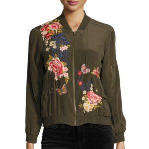 Johnny Was Lucy Bomber Jacket Floral Embroidered